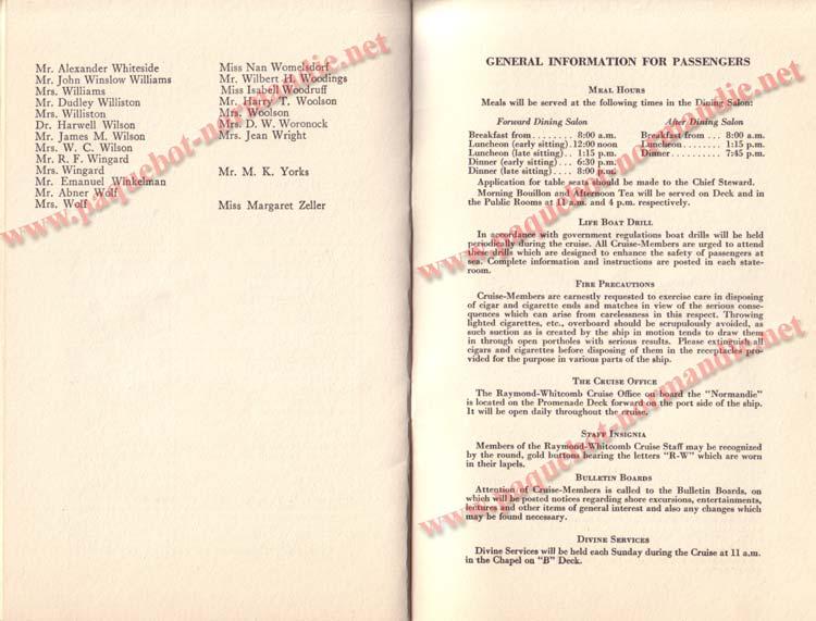 PAQUEBOT NORMANDIE - LISTE DES PASSAGERS DU 5 FEVRIER 1938 POUR LA 1ère CROISIERE DE RIO / 10
