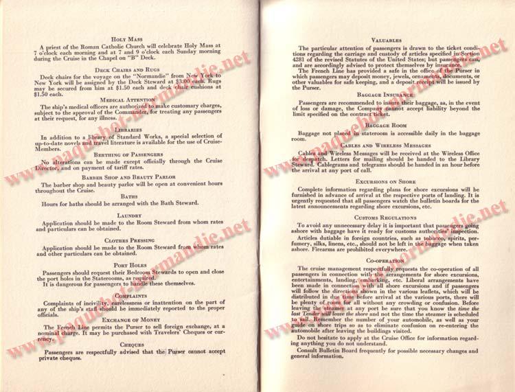 PAQUEBOT NORMANDIE - LISTE DES PASSAGERS DU 5 FEVRIER 1938 POUR LA 1ère CROISIERE DE RIO /