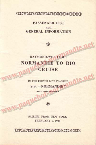 PAQUEBOT NORMANDIE - LISTE DES PASSAGERS DU 5 FEVRIER 1938 POUR LA 1ère CROISIERE DE RIO / 2