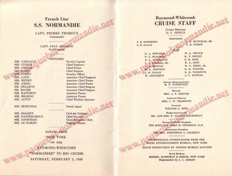 PAQUEBOT NORMANDIE - LISTE DES PASSAGERS DU 5 FEVRIER 1938 POUR LA 1ère CROISIERE DE RIO / 3