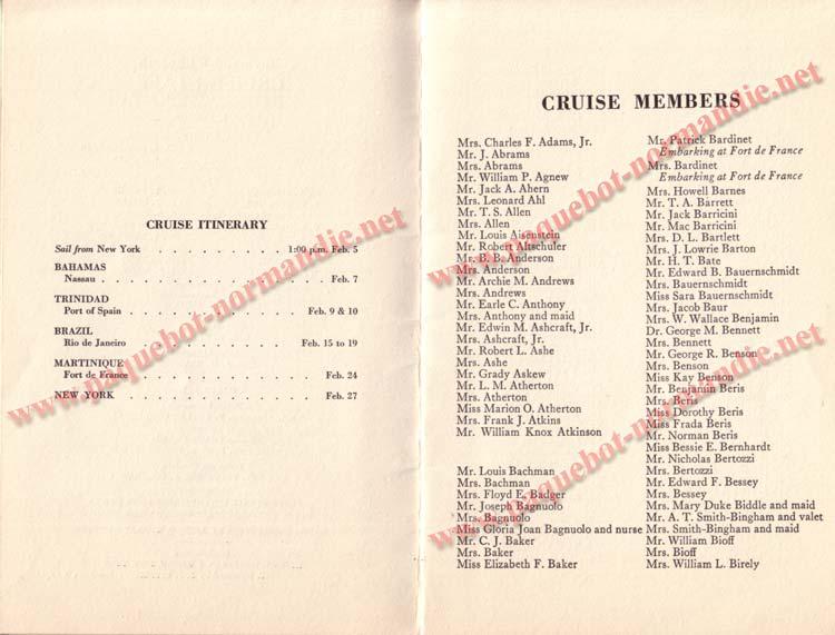 PAQUEBOT NORMANDIE - LISTE DES PASSAGERS DU 5 FEVRIER 1938 POUR LA 1ère CROISIERE DE RIO / 4