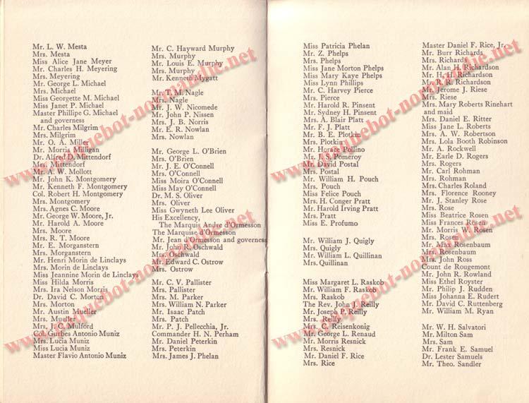 PAQUEBOT NORMANDIE - LISTE DES PASSAGERS DU 5 FEVRIER 1938 POUR LA 1ère CROISIERE DE RIO / 8