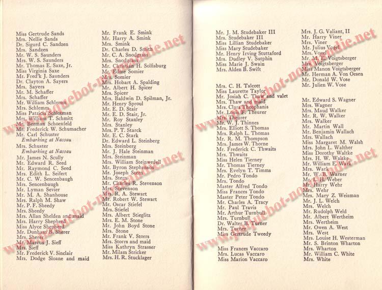 PAQUEBOT NORMANDIE - LISTE DES PASSAGERS DU 5 FEVRIER 1938 POUR LA 1ère CROISIERE DE RIO / 9