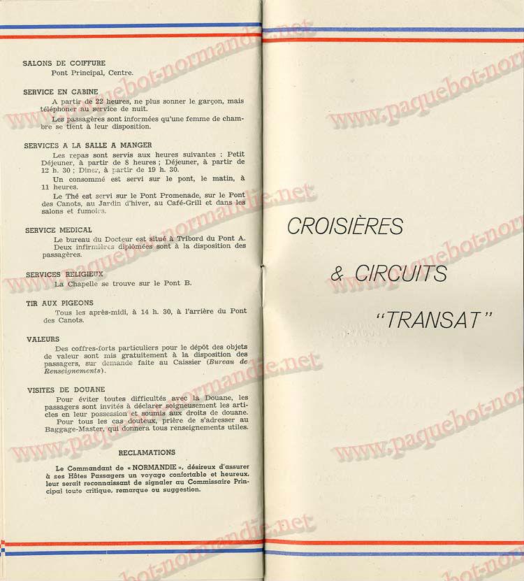 S.S NORMANDIE - LISTE PASSAGERS DU 05 Octobre 1938 - 1ère CLASSE / 1-10