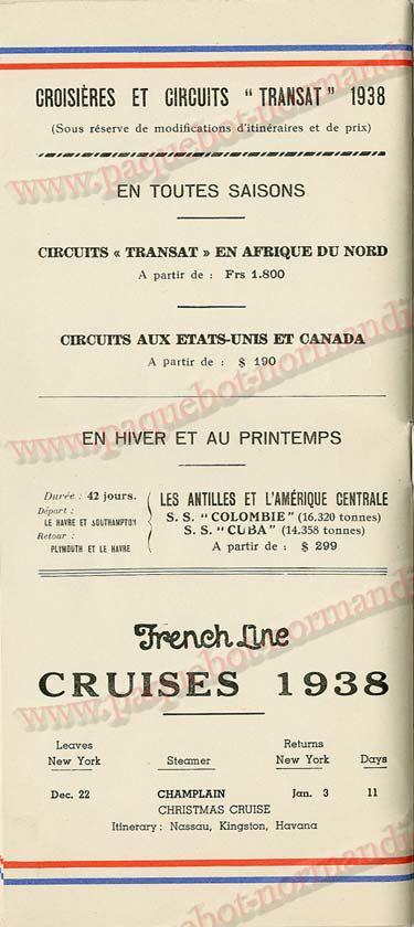 S.S NORMANDIE - LISTE PASSAGERS DU 05 Octobre 1938 - 1ère CLASSE / 1-11