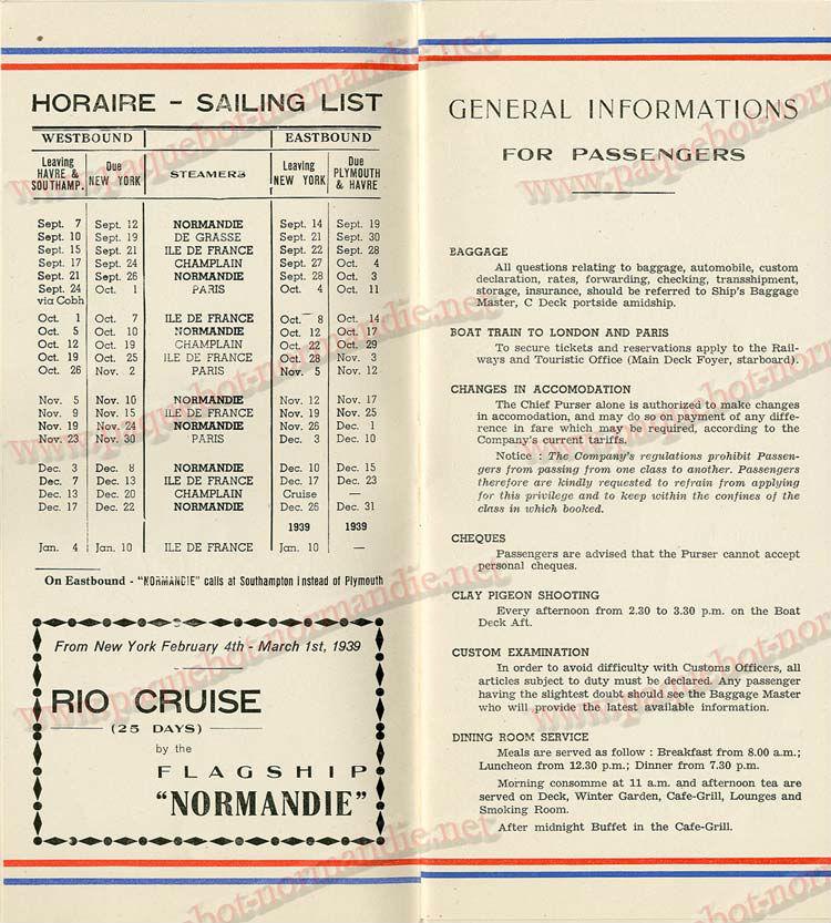 S.S NORMANDIE - LISTE PASSAGERS DU 05 Octobre 1938 - 1ère CLASSE / 1-2
