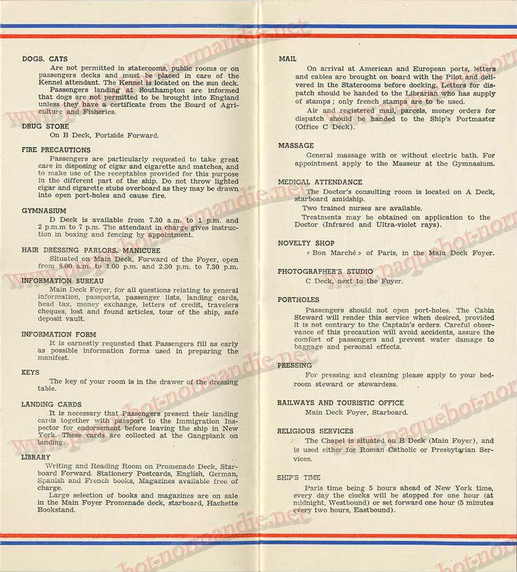 S.S NORMANDIE - LISTE PASSAGERS DU 05 Octobre 1938 - 1ère CLASSE / 1-3