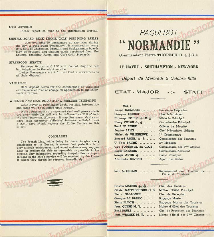S.S NORMANDIE - LISTE PASSAGERS DU 05 Octobre 1938 - 1ère CLASSE / 1-4