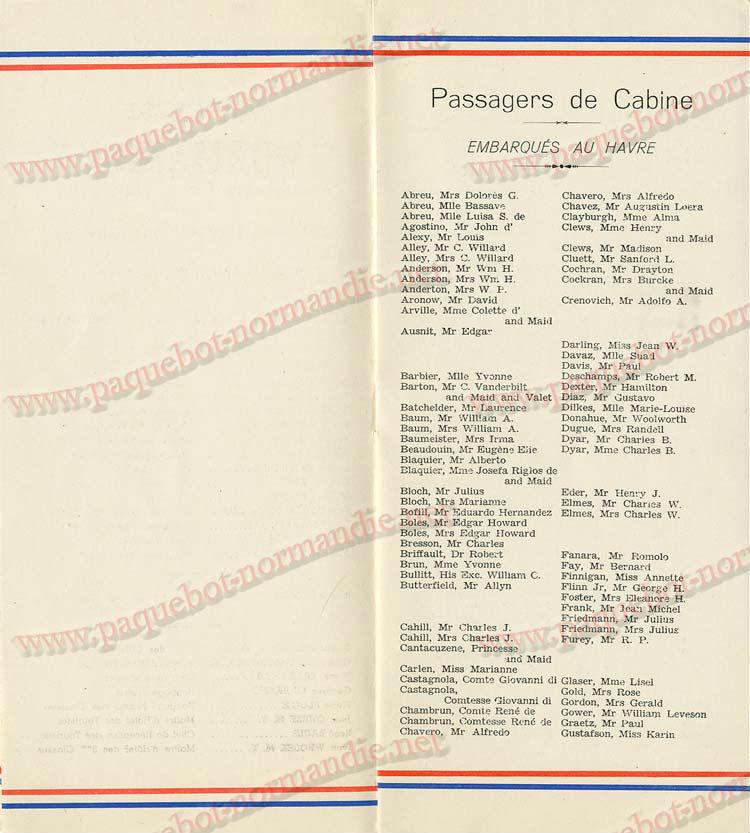 S.S NORMANDIE - LISTE PASSAGERS DU 05 Octobre 1938 - 1ère CLASSE / 1-5