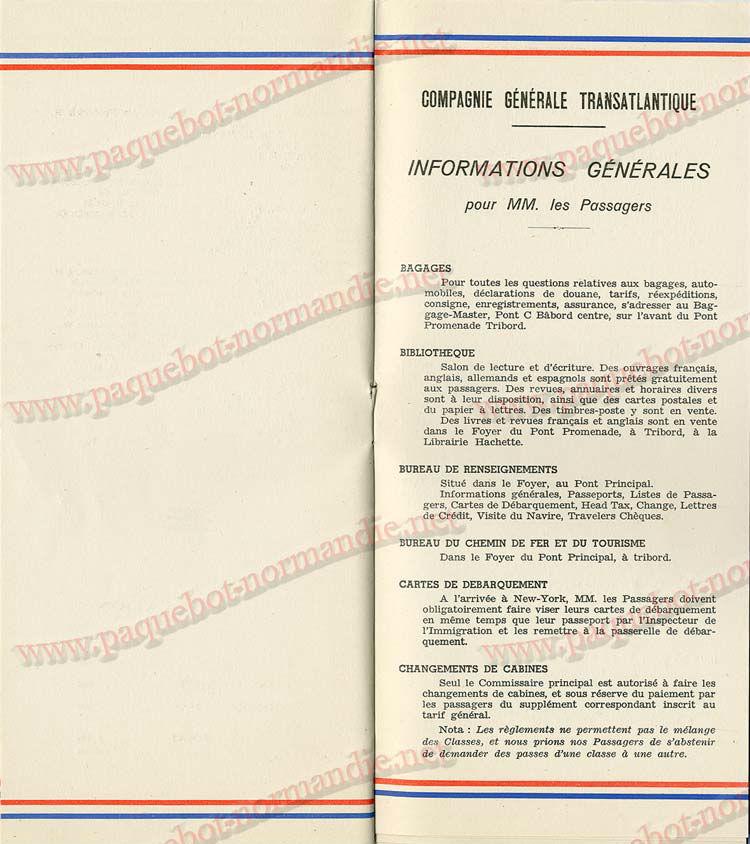 S.S NORMANDIE - LISTE PASSAGERS DU 05 Octobre 1938 - 1ère CLASSE / 1-8