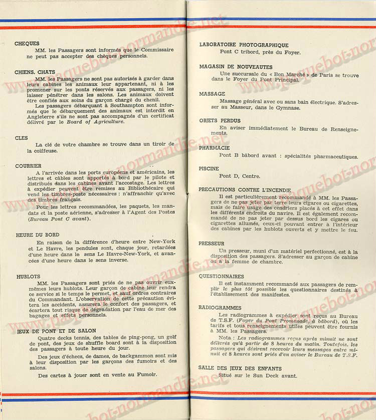 S.S NORMANDIE - LISTE PASSAGERS DU 05 Octobre 1938 - 1ère CLASSE / 1-9