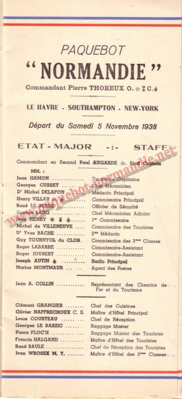PAQUEBOT NORMANDIE - LISTE DES PASSAGERS DU 5 NOVEMBRE 1938 - 1ère CLASSE / 1-1