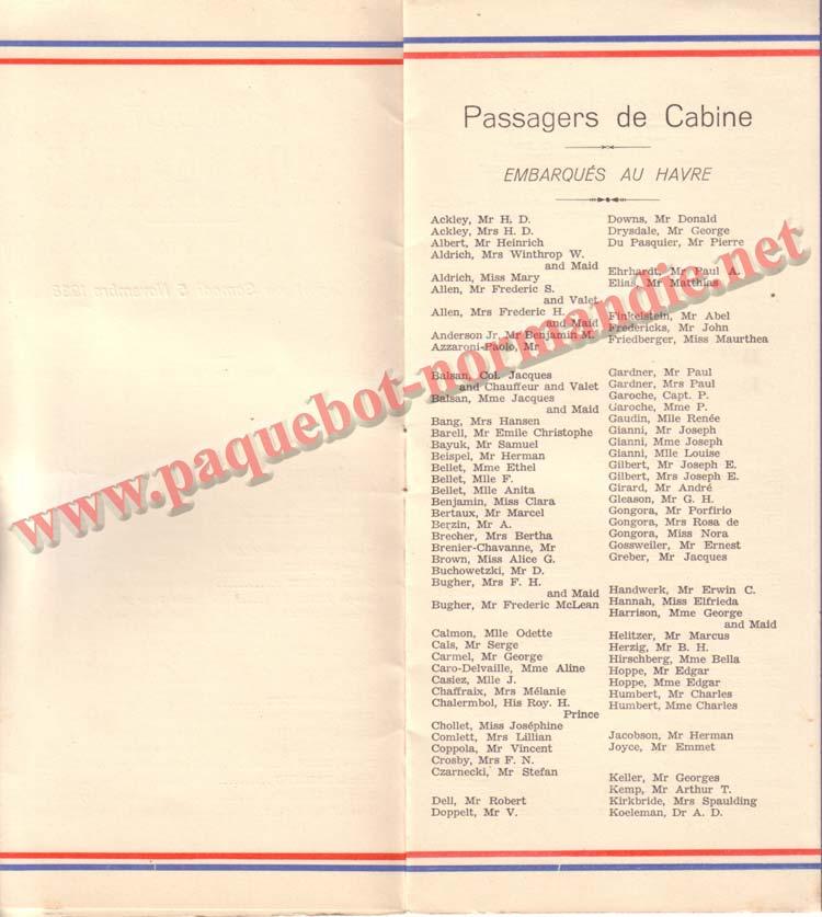 PAQUEBOT NORMANDIE - LISTE DES PASSAGERS DU 5 NOVEMBRE 1938 - 1ère CLASSE / 1-2