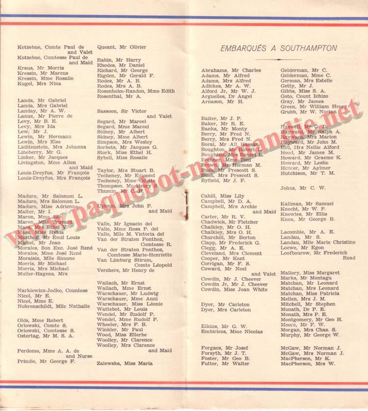 PAQUEBOT NORMANDIE - LISTE DES PASSAGERS DU 5 NOVEMBRE 1938 - 1ère CLASSE / 1-3