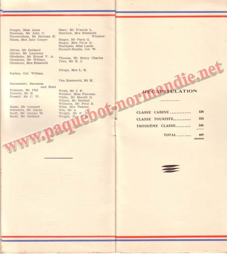 PAQUEBOT NORMANDIE - LISTE DES PASSAGERS DU 5 NOVEMBRE 1938 - 1ère CLASSE / 1-4