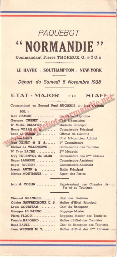 PAQUEBOT NORMANDIE - LISTE DES PASSAGERS DU 5 NOVEMBRE 1938 - 2ème CLASSE / 2-1