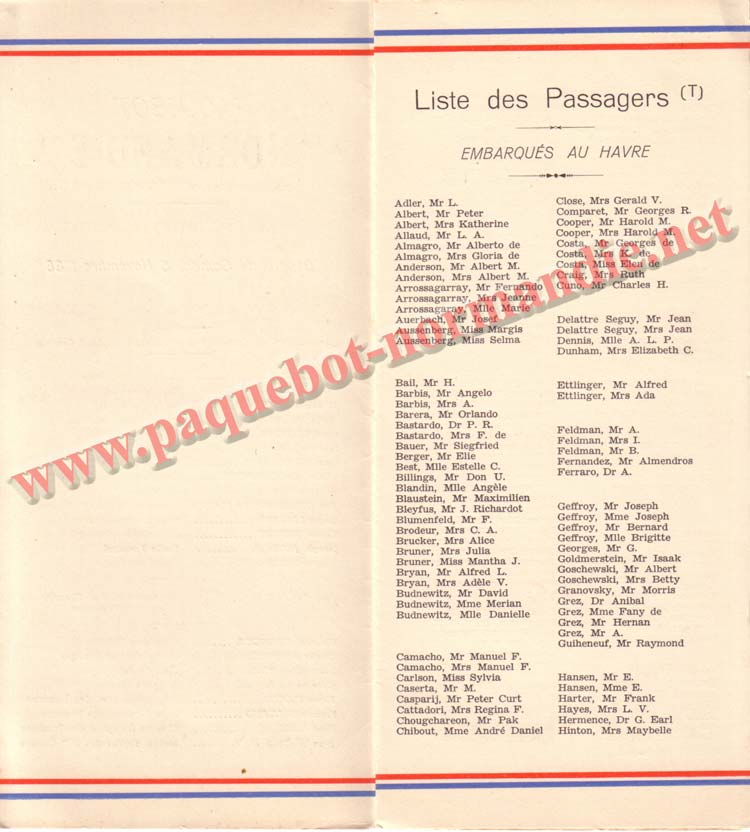 PAQUEBOT NORMANDIE - LISTE DES PASSAGERS DU 5 NOVEMBRE 1938 - 2ème CLASSE / 2-2