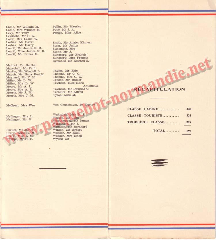 PAQUEBOT NORMANDIE - LISTE DES PASSAGERS DU 5 NOVEMBRE 1938 - 2ème CLASSE / 2-4