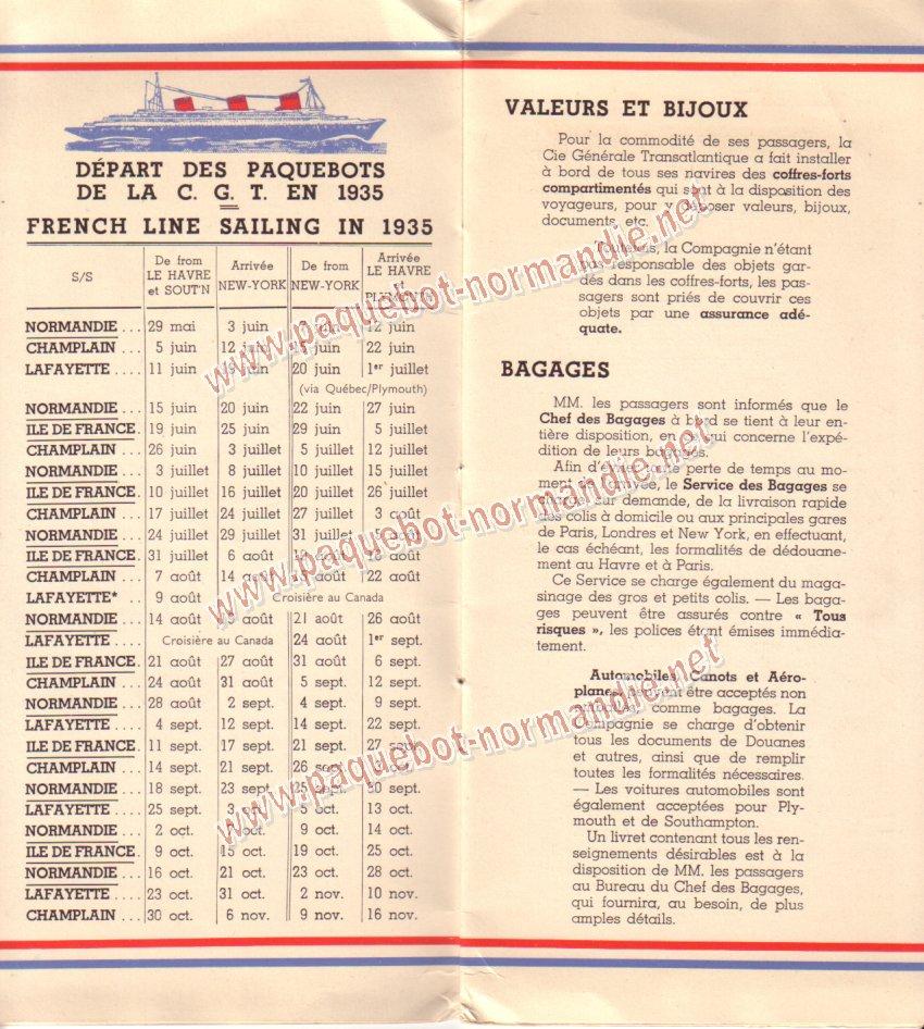 Paquebot s/s Normandie - LISTE PASSAGERS 7.06.35 / 1-2