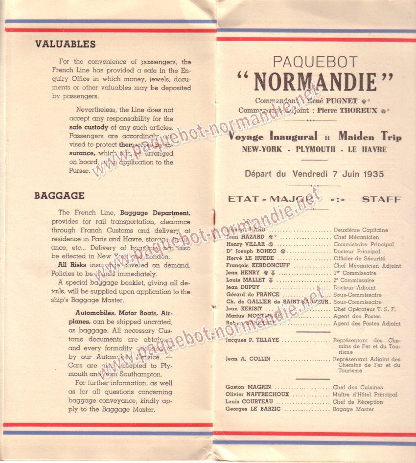 Paquebot s/s Normandie - LISTE PASSAGERS 7.06.35 / 1-3