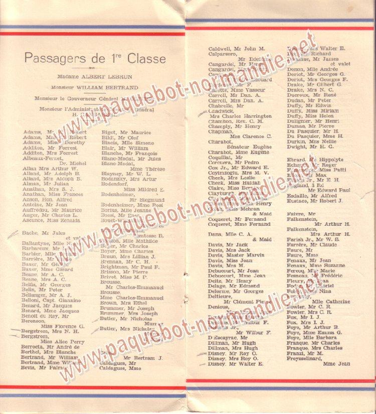 Paquebot s/s Normandie - LISTE PASSAGERS 7.06.35 / 1-4