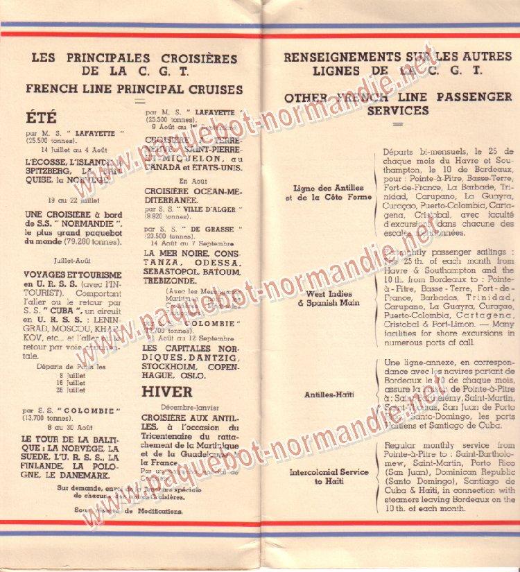 Paquebot s/s Normandie - LISTE PASSAGERS 7.06.35 / 1-8