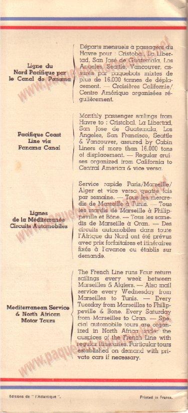 Paquebot s/s Normandie - LISTE PASSAGERS 7.06.35 / 1-9