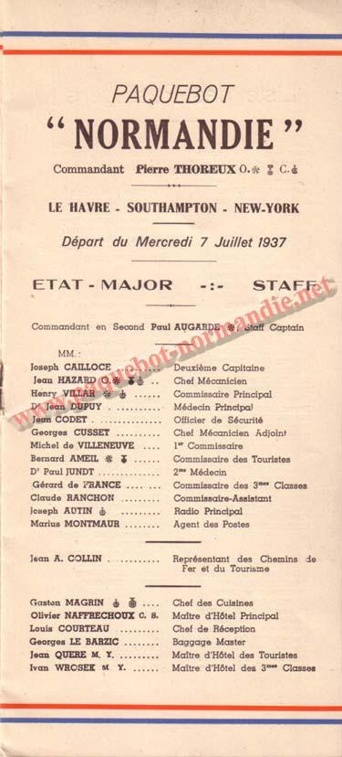 PAQUEBOT NORMANDIE - LISTE DES PASSAGERS DU 07 JUILET 1937 - 3ème CLASSE / 3-1