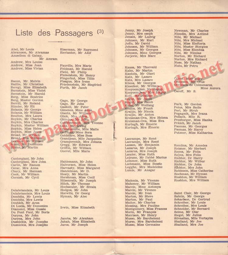 PAQUEBOT NORMANDIE - LISTE DES PASSAGERS DU 07 JUILET 1937 - 3ème CLASSE / 3-2
