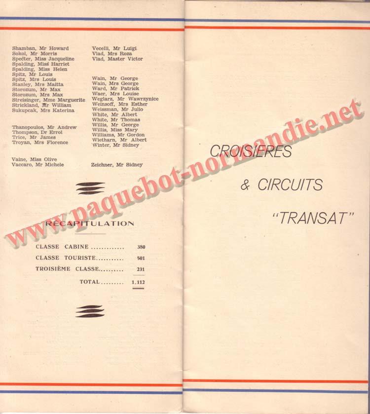 PAQUEBOT NORMANDIE - LISTE DES PASSAGERS DU 07 JUILET 1937 - 3ème CLASSE / 3-3