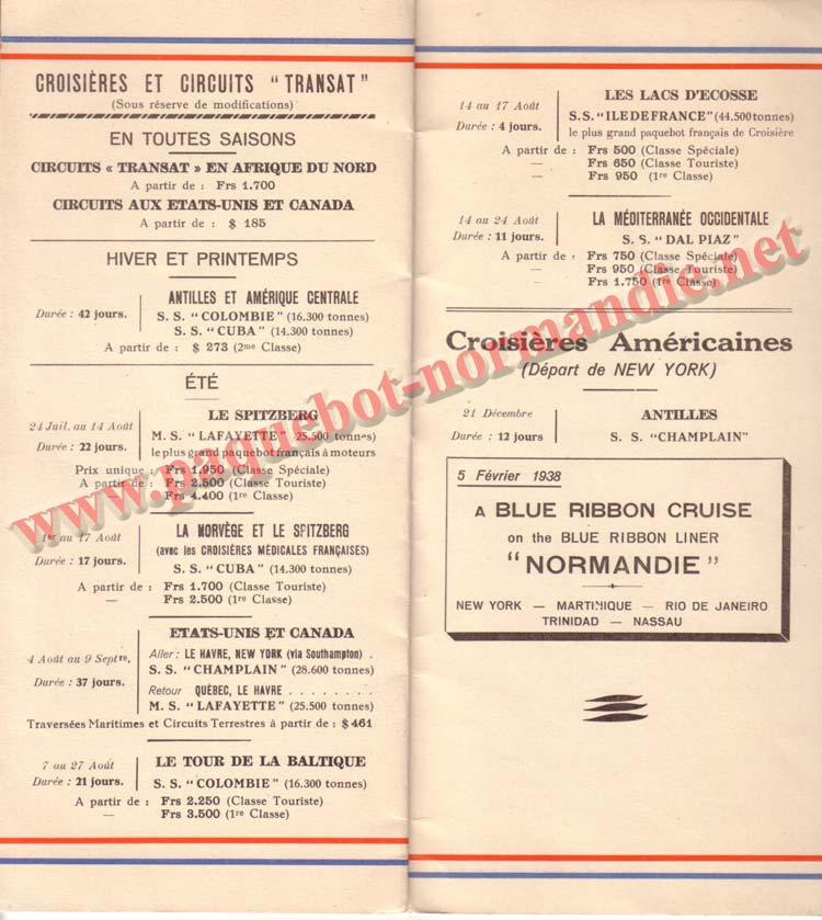 PAQUEBOT NORMANDIE - LISTE DES PASSAGERS DU 07 JUILET 1937 - 3ème CLASSE / 3-4
