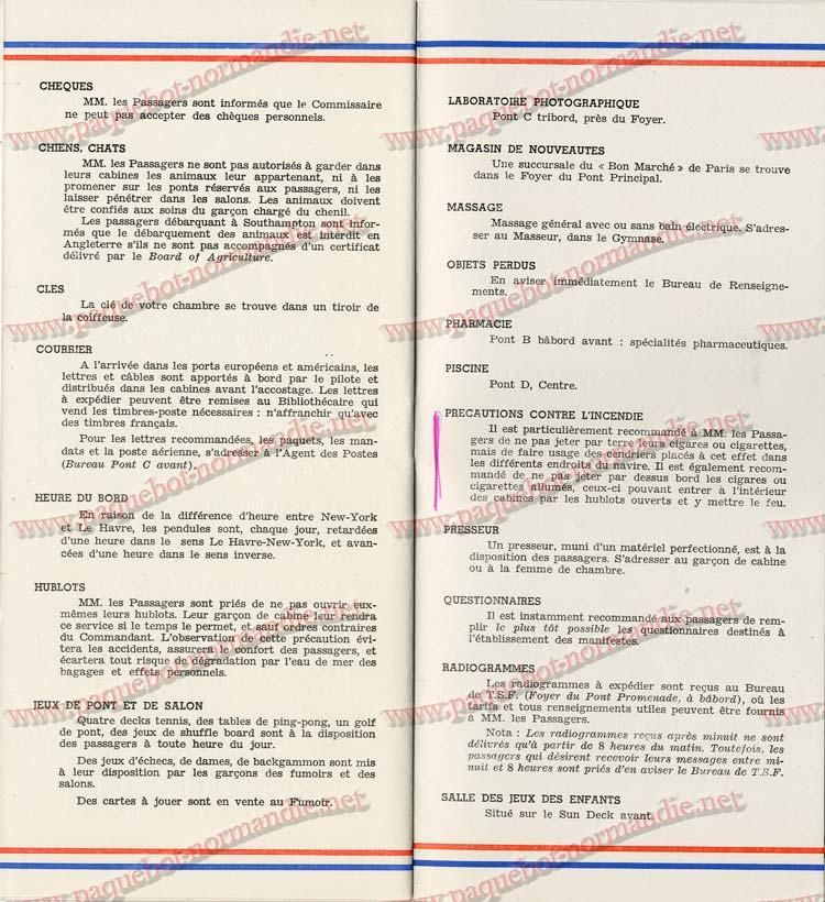 S.S NORMANDIE - LISTE PASSAGERS DU 7 SEPTEMBRE 1938 - 1ère CLASSE / 1-10