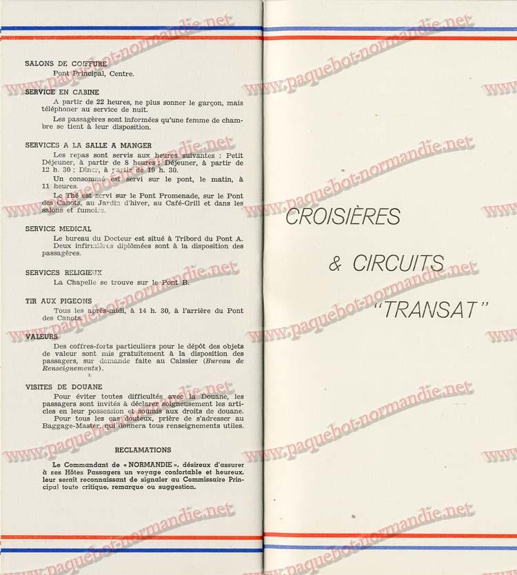 S.S NORMANDIE - LISTE PASSAGERS DU 7 SEPTEMBRE 1938 - 1ère CLASSE / 1-11