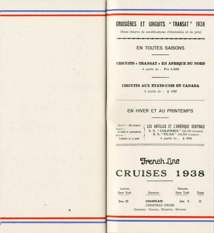 S.S NORMANDIE - LISTE PASSAGERS DU 7 SEPTEMBRE 1938 - 1ère CLASSE / 1-12