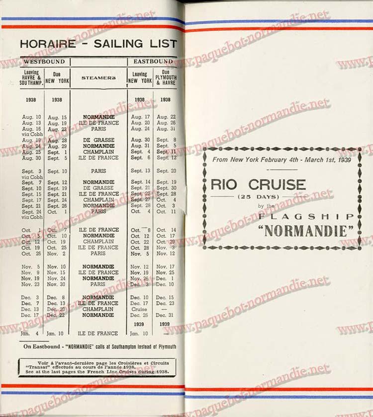S.S NORMANDIE - LISTE PASSAGERS DU 7 SEPTEMBRE 1938 - 1ère CLASSE / 1-2