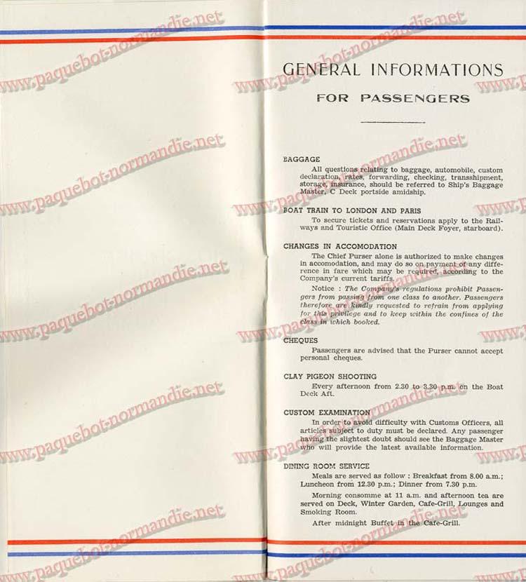 S.S NORMANDIE - LISTE PASSAGERS DU 7 SEPTEMBRE 1938 - 1ère CLASSE / 1-3