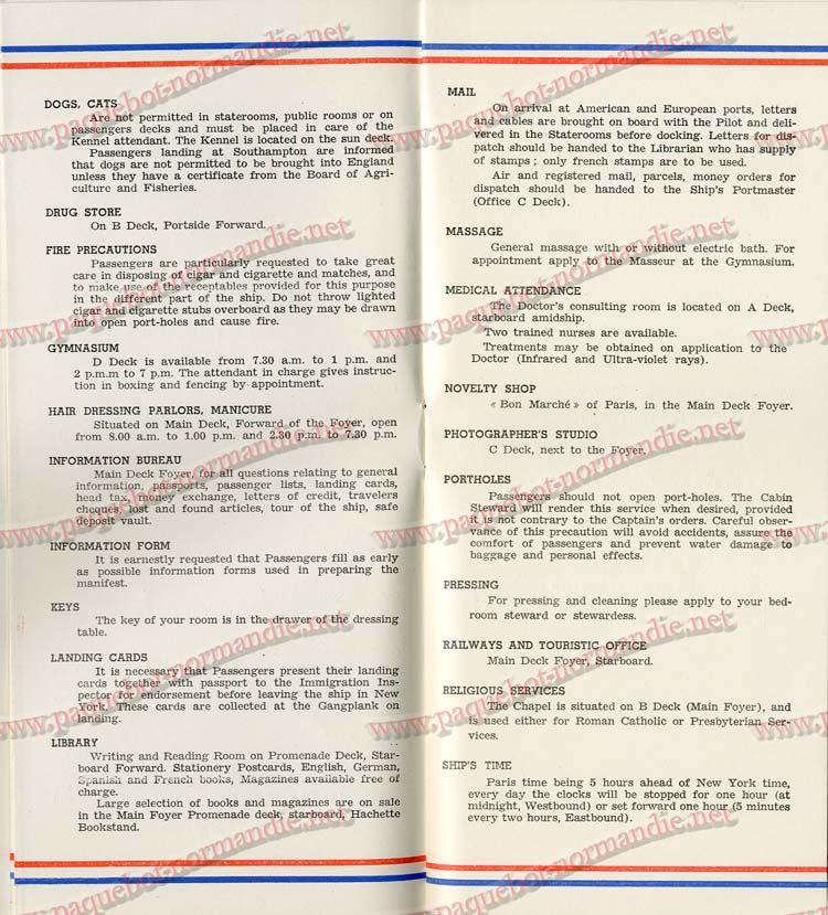 S.S NORMANDIE - LISTE PASSAGERS DU 7 SEPTEMBRE 1938 - 1ère CLASSE / 1-4