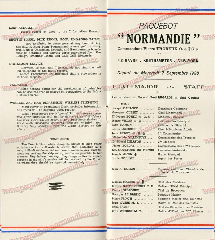 S.S NORMANDIE - LISTE PASSAGERS DU 7 SEPTEMBRE 1938 - 1ère CLASSE / 1-5