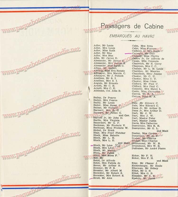 S.S NORMANDIE - LISTE PASSAGERS DU 7 SEPTEMBRE 1938 - 1ère CLASSE / 1-6