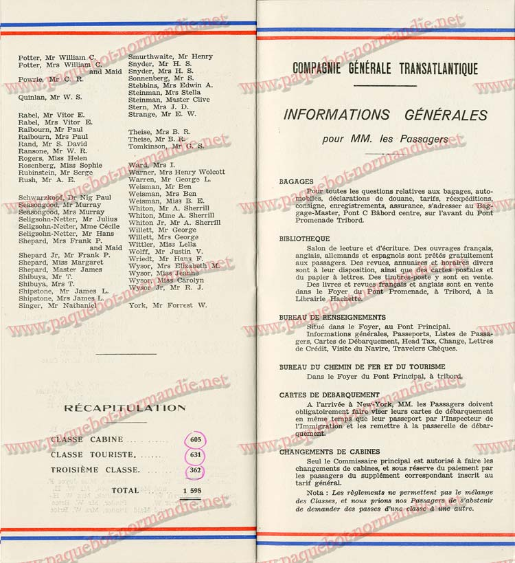S.S NORMANDIE - LISTE PASSAGERS DU 7 SEPTEMBRE 1938 - 1ère CLASSE / 1-9