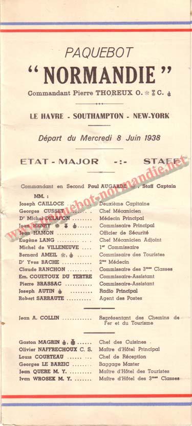 PAQUEBOT NORMANDIE - LISTE DES PASSAGERS DU 8 JUIN 1938 - 1ère CLASSE / 1-1