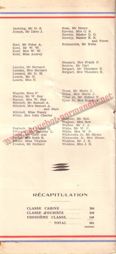 PAQUEBOT NORMANDIE - LISTE DES PASSAGERS DU 8 JUIN 1938 - 1ère CLASSE / 1-3