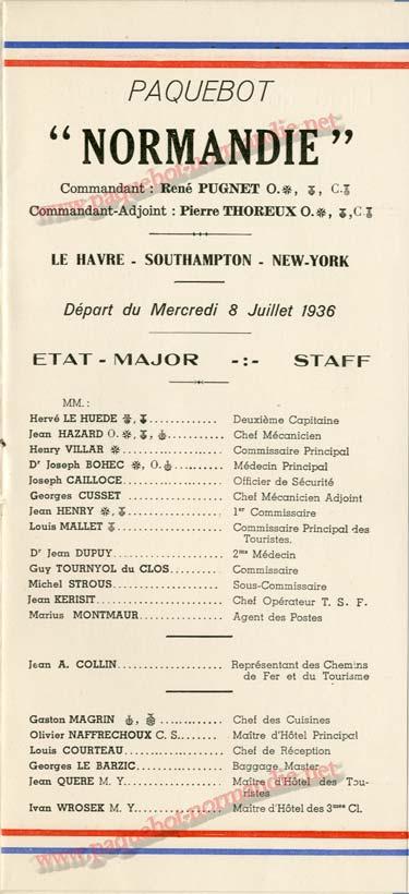 S.S. NORMANDIE - LISTE DES PASSAGERS 08 JUILLET 1936 - 2ème CLASSE 2-1