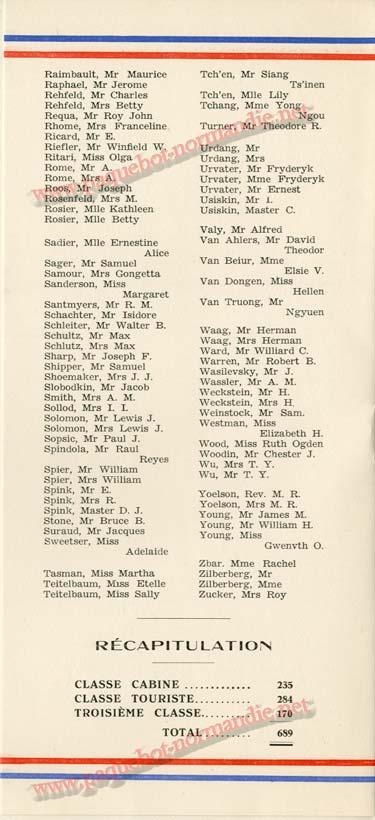 S.S. NORMANDIE - LISTE DES PASSAGERS 08 JUILLET 1936 - 2ème CLASSE 2-3