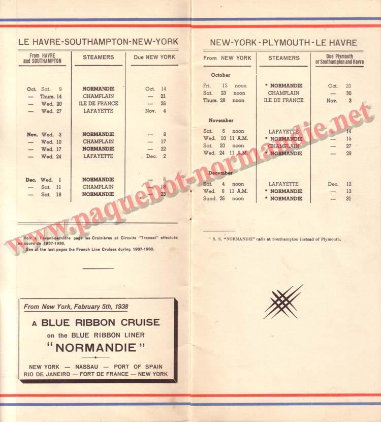 PAQUEBOT NORMANDIE - LISTE DES PASSAGERS DU 9 OCTOBRE 1937 - 1ère CLASSE / 1-2