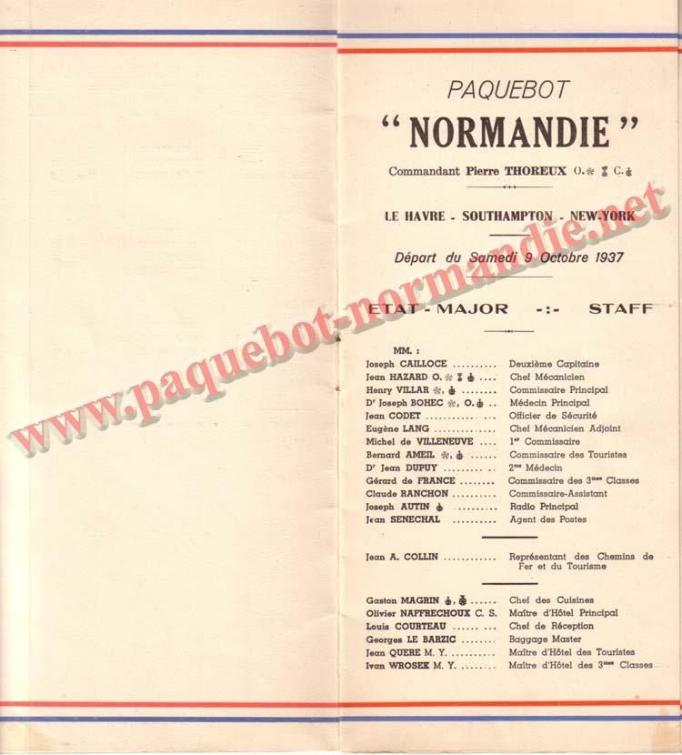 PAQUEBOT NORMANDIE - LISTE DES PASSAGERS DU 9 OCTOBRE 1937 - 1ère CLASSE / 1-3