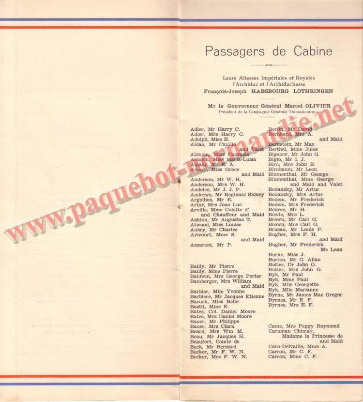 PAQUEBOT NORMANDIE - LISTE DES PASSAGERS DU 9 OCTOBRE 1937 - 1ère CLASSE / 1-4