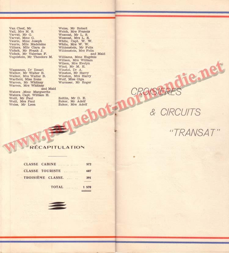 PAQUEBOT NORMANDIE - LISTE DES PASSAGERS DU 9 OCTOBRE 1937 - 1ère CLASSE / 1-7