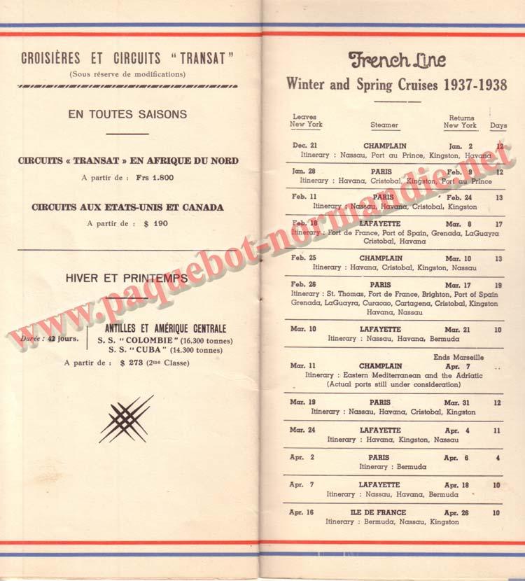 PAQUEBOT NORMANDIE - LISTE DES PASSAGERS DU 9 OCTOBRE 1937 - 1ère CLASSE / 1-8