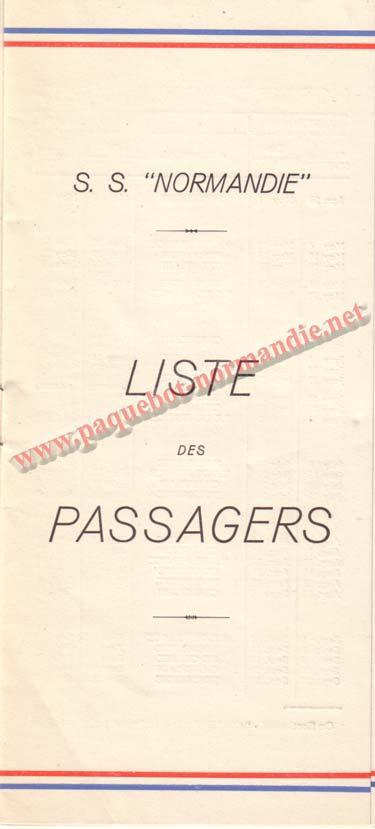 PAQUEBOT NORMANDIE - LISTE DES PASSAGERS DU 10 MAI 1939 - 2ème CLASSE / 2-1